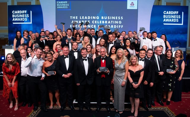 Group shot of Cardiff Business Awards winners